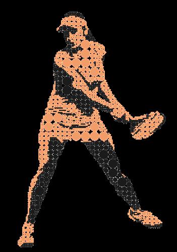 Manschafft_Damen_spielt-tennis-in-PiKtogramm_gepünkte_Orange